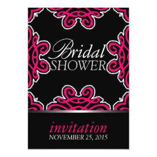Tribal Decor Hot Pink & Black Bridal Shower Party Card