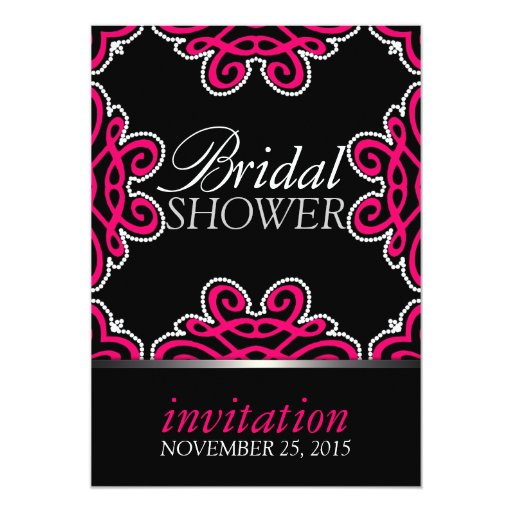 Tribal Decor Hot Pink & Black Bridal Shower Party Card