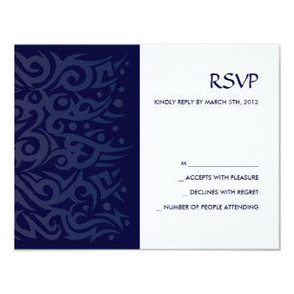 TRIBAL DESIGN Bar Bat Mitzvah Reply Card Blue