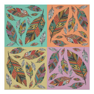 Tribal Design Feathers on Four Color Squares Poster