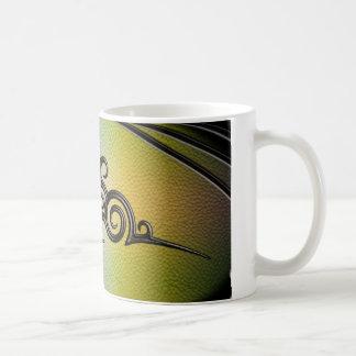 Tribal Design, Gold/Emerald - Leather Emboss Coffee Mug