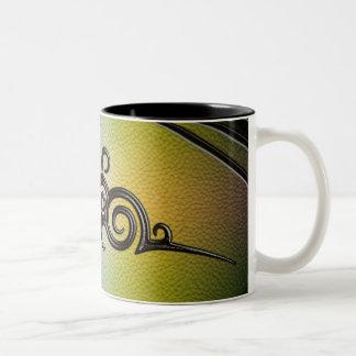Tribal Design, Gold/Emerald - Leather Emboss Two-Tone Coffee Mug
