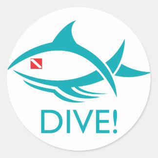 Tribal Dive Fish Classic Round Sticker