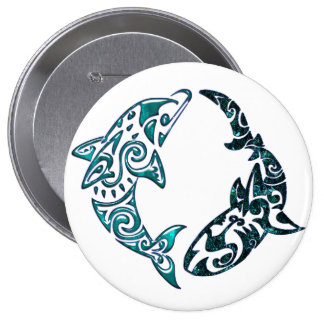 Tribal Dolphin and Shark Tattoo Button