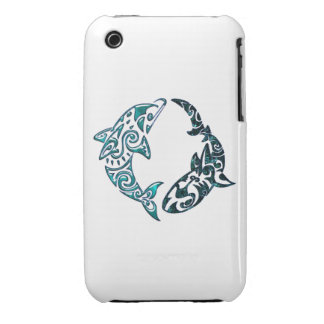 Tribal Dolphin and Shark Tattoo iPhone 3 Cases