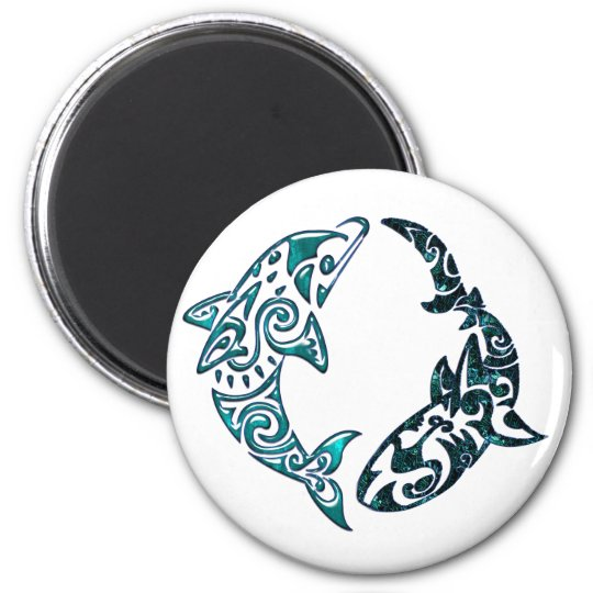 Tribal Dolphin and Shark Tattoo Magnet