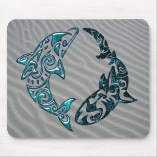 Tribal Dolphin and Shark Tattoo Mouse Pad