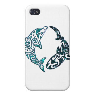 Tribal Dolphin and Shark Too Cover For iPhone 4