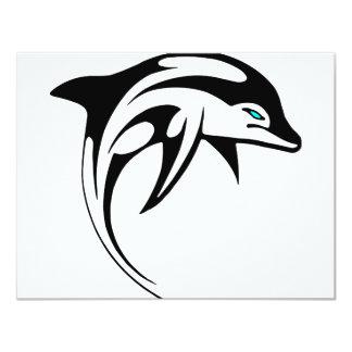 Tribal Dolphin Art #028 4.25x5.5 Paper Invitation Card