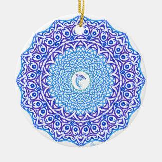 Tribal Dolphin Mandala Ceramic Ornament