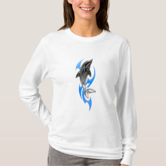 Tribal Dolphin White Long Sleeve T-Shirt