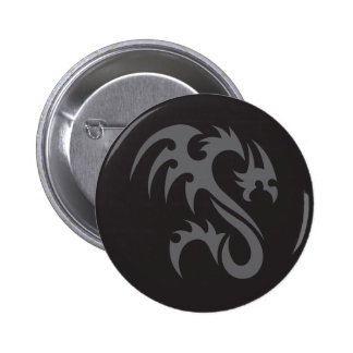 Tribal Dragon 01 grey black Button