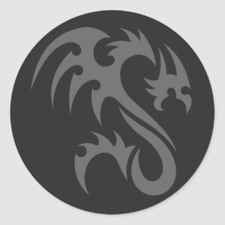 Tribal Dragon 01 grey black Classic Round Sticker