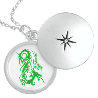 Tribal Dragon 2 green Sterling Silver Necklace