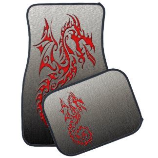 Tribal Dragon 3 red Car Mat