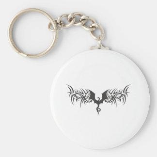 tribal dragon basic round button keychain