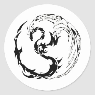 Tribal Dragon Classic Round Sticker