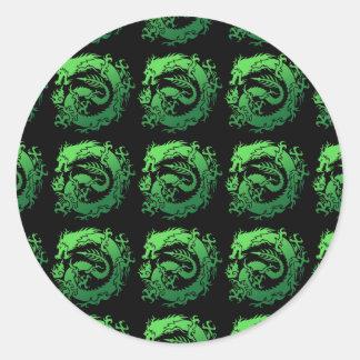 Tribal dragon classic round sticker