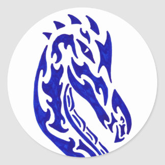 Tribal Dragon Head Classic Round Sticker