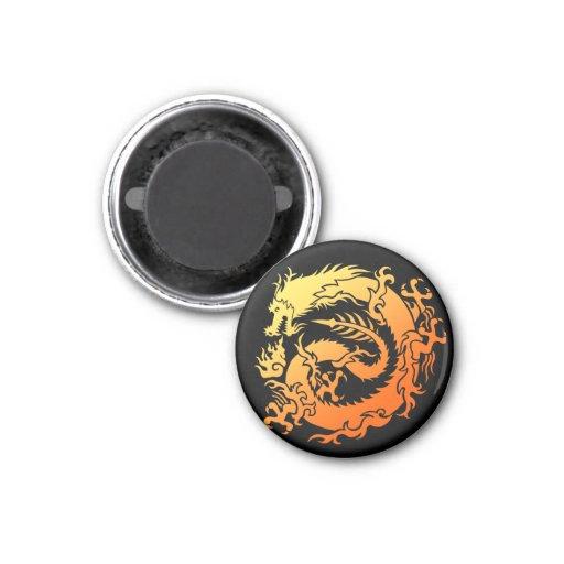 Tribal dragon imán redondo 3 cm