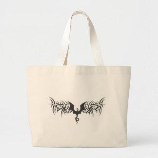 tribal dragon large tote bag