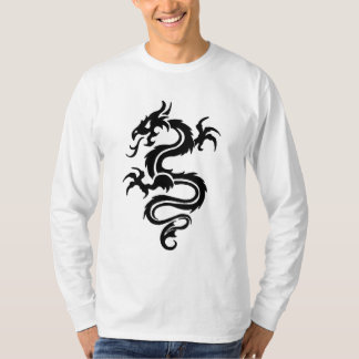 Tribal Dragon Long Sleeve White T-shirt