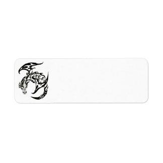 tribal dragon mailing label return address label