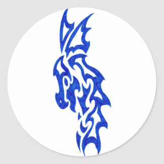 Tribal Dragon Majestic Classic Round Sticker