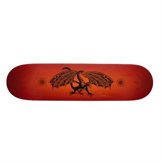 Tribal Dragon on Burnt Orange Skateboard Deck