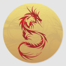 Tribal Dragon Round Stickers