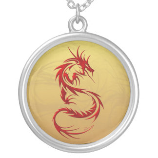 Tribal Dragon Silver Plated Necklace