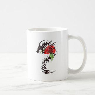 tribal dragon with rose classic white coffee mug