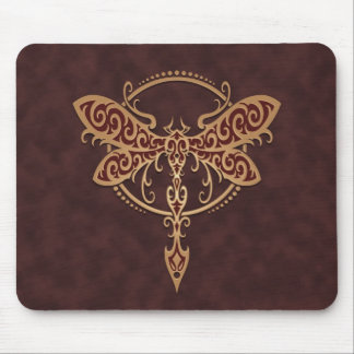 Tribal Dragonfly – brown Mouse Pad