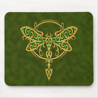 Tribal Dragonfly – golden green Mouse Pad