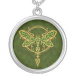 Tribal Dragonfly – golden green Pendant