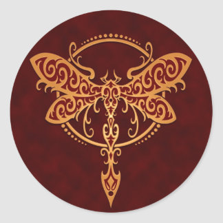 Tribal Dragonfly, Golden Red Classic Round Sticker