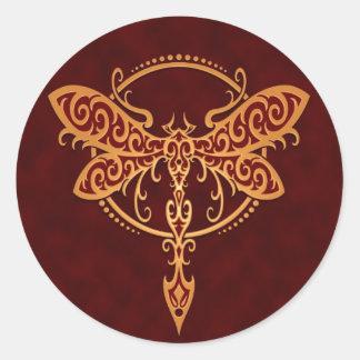 Tribal Dragonfly Golden Red Round Sticker