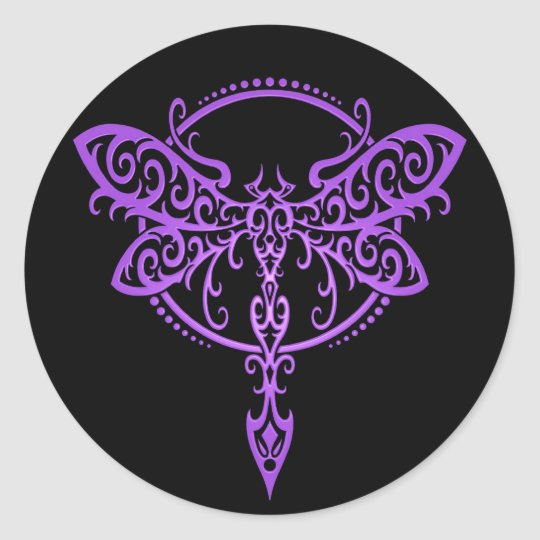 Tribal Dragonfly, Purple and Black Classic Round Sticker