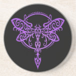 Tribal Dragonfly, Purple and Black Drink Coaster