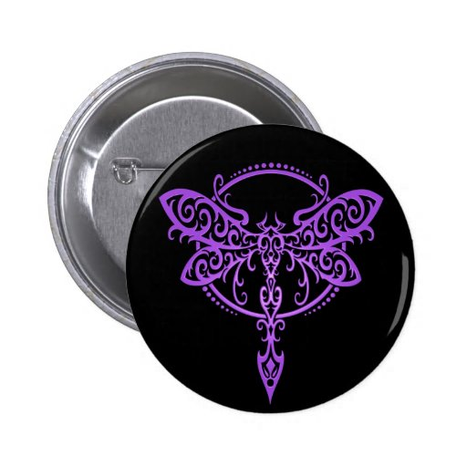 Tribal Dragonfly, Purple and Black Pins