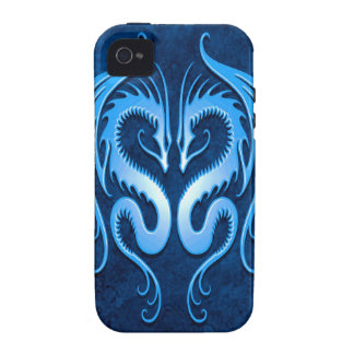 Tribal Dragons, blue Case-Mate iPhone 4 Covers