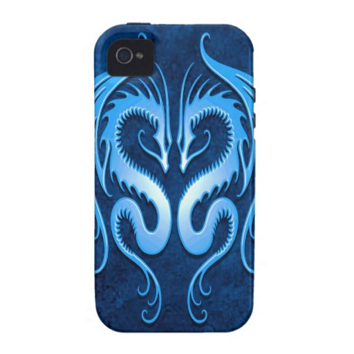 Tribal Dragons, blue iPhone 4 Covers