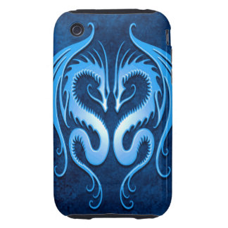 Tribal Dragons, blue Tough iPhone 3 Cases