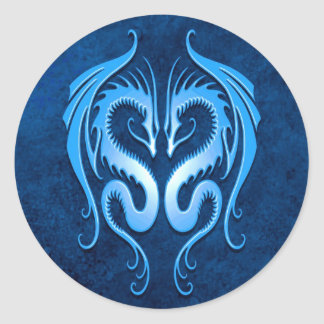 Tribal Dragons, blue Classic Round Sticker