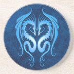 Tribal Dragons, blue Drink Coaster