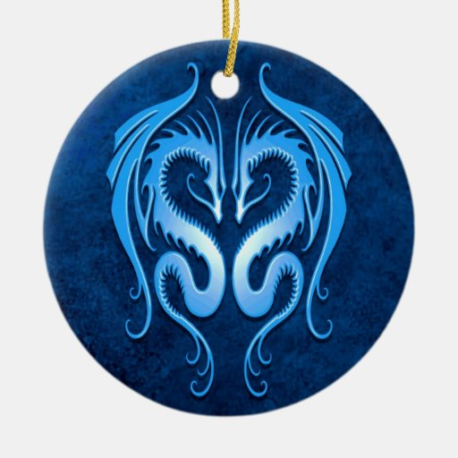 Tribal Dragons, blue Round Ceramic Ornament