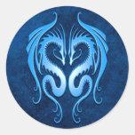 Tribal Dragons, blue Round Sticker