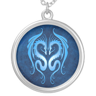 Tribal Dragons, blue Silver Plated Necklace