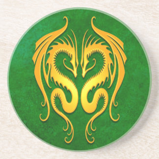 Tribal Dragons, green and yellow Drink Coaster