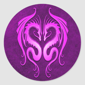 Tribal Dragons, purple Classic Round Sticker